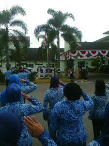 Pengibaran bendera pada upacara HUT RI ke 71 dihalaman RSUD Kapuas